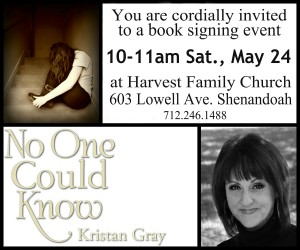 10-11 am Saturday, May 24 at Harvest Family Church, Shenandoah