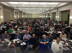 Photo by Josh Brahm at the 2015 Iowa Right to Life Conference All of the speakers before me kept remarking on what an amazing view it was from the stage. So I took a picture from the stage so that they can see the view. 400 excited pro-life advocates!